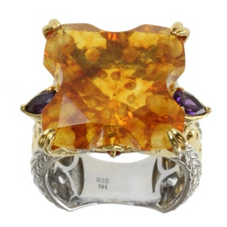 "Michael Valitutti Two-tone Amber, Amethyst and Orange Sapphire ""Bubbles"" Ring"
