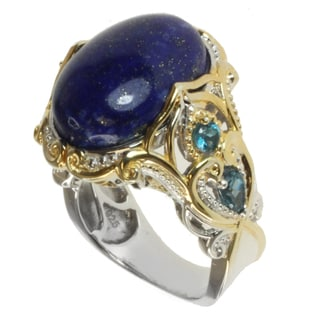 Michael Valitutti Two-tone Lapis and London Blue Topaz Ring