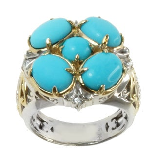 Michael Valitutti Two-tone Sleeping Beauty Turquoise and White Sapphire Ring