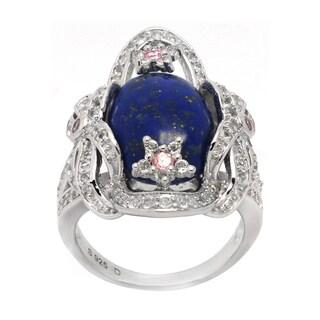 De Buman Genuine Lapis Sterling Silver Ring