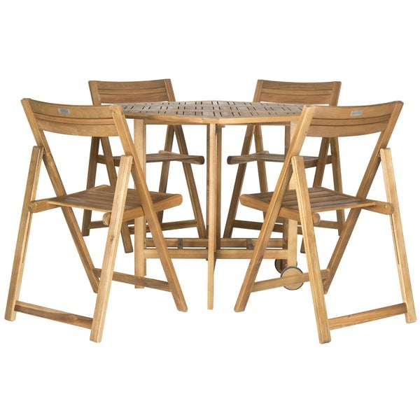 Kerman Teak Finish Brown Acacia Wood 5 Piece Outdoor Dining Table Set