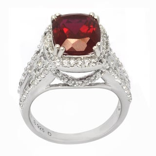 De Buman Created Ruby and White Topaz Sterling Silver Ring