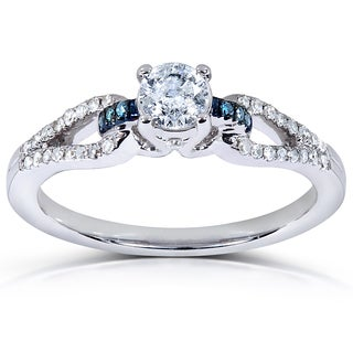 Annello 14k White Gold 1/2ct TDW Blue and White Diamond Engagement Ring (H-I, I1-I2)