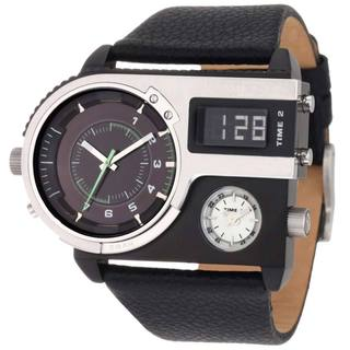 Diesel Men's DZ7207 SBA Digital/ Analog Black Leather Watch