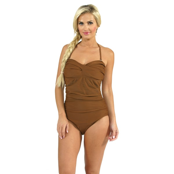 Aliana Swim Shirred Bandeau One Piece in Brown