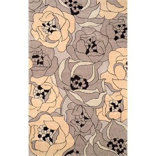 nuLOOM Hand-tufted Floral Synthetics Cream Rug (8' 6 x 11' 6)