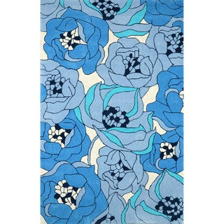 nuLOOM Hand-tufted Floral Synthetics Blue Rug (8' 6 x 11' 6)
