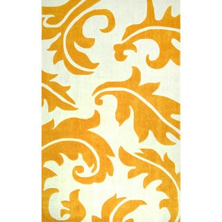 nuLOOM Hand-tufted Leaves Synthetics Gold Rug (8' 6 x 11' 6)
