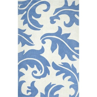 nuLOOM Hand-tufted Leaves Synthetics Blue Rug (8' 6 x 11' 6)