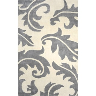 nuLOOM Hand-tufted Leaves Synthetics Grey Rug (8' 6 x 11' 6)