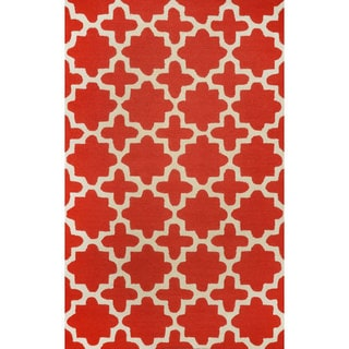 nuLOOM Hand-tufted Moroccan Trellis Wool Red Rug (8' 3 x 11')