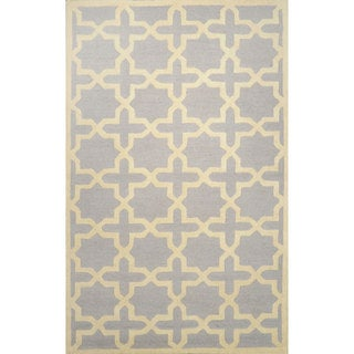 nuLOOM Hand-hooked Trellis Wool Light Grey Rug (8' 6 x 11' 6 )
