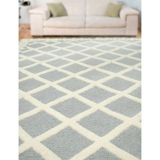 nuLOOM Hand-tufted Lattice Wool Grey Rug (8' 6 x 11' 6)