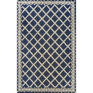 nuLOOM Hand-tufted Lattice Wool Navy Rug (7' 6 x 9' 6)