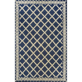 nuLOOM Hand-tufted Lattice Wool Navy Rug (8' 6 x 11' 6)