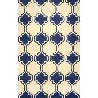 nuLOOM Hand-tufted Moroccan Trellis Wool Navy Rug (8' 6 x 11' 6 )
