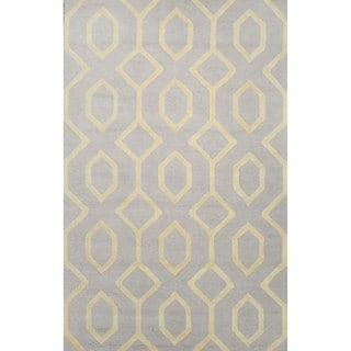 nuLOOM Hand-looped Wool Grey Rug (8' 6 x 11' 6)
