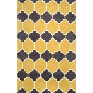 nuLOOM Hand-tufted Lattice Geometric Synthetics Gold Rug (7' 6 x 9' 6 )