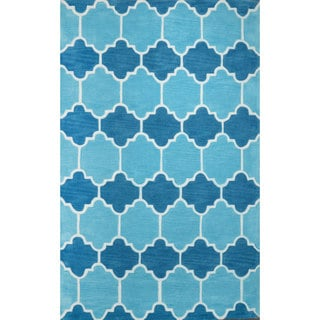 nuLOOM Hand-tufted Lattice Geometric Synthetics Blue Rug (7' 6 x 9' 6 )