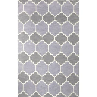 nuLOOM Hand-tufted Lattice Geometric Synthetics Grey Rug (7' 6 x 9' 6 )