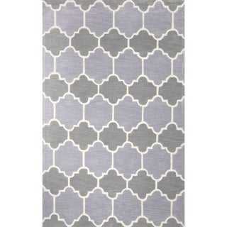 nuLOOM Hand-tufted Lattice Geometric Synthetics Grey Rug (8' 6 x 11' 6)