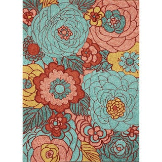 nuLOOM Hand-hooked Floral Indoor / Outdoor Synthetics Multi Rug (7' 6 x 9' 6)