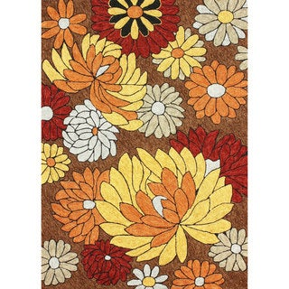 nuLOOM Hand-hooked Floral Indoor / Outdoor Synthetics Brown Rug (7' 6 x 9' 6)