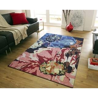 nuLOOM Hand-hooked Floral Indoor/ Outdoor Pink Rug (8' 6 x 11' 6)