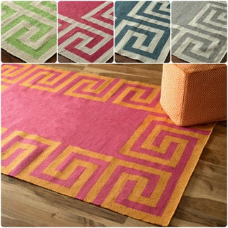 nuLOOM Indoor/ Outdoor Flatwoven Greek Key Synthetics Mint Rug (8' 6 x 11' 6)