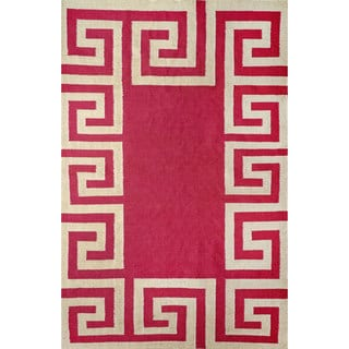 nuLOOM Indoor/ Outdoor Flatwoven Greek Key Synthetics Fuschia Rug (8' 6 x 11' 6)