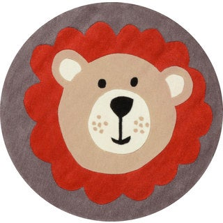 nuLOOM Hand-tufted Little Bear Synthetics Grey Rug (4' Round)
