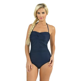 Aliana Swim Shirred Bandeau One Piece in Dark Blue