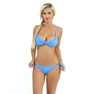 Sunset Swim Demicup with Side Tie Bottoms in Cornflower Blue
