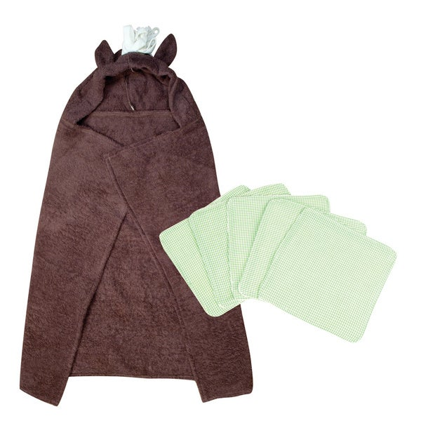 Trend Lab 6-piece Horse Hooded Towel and Wash Kit in Brown