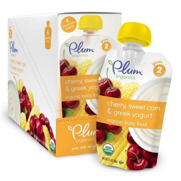 Plum Organics Second Blends Cherry, Sweet Corn & Greek Yogurt 4-ounce Pouch (Pack of 6)