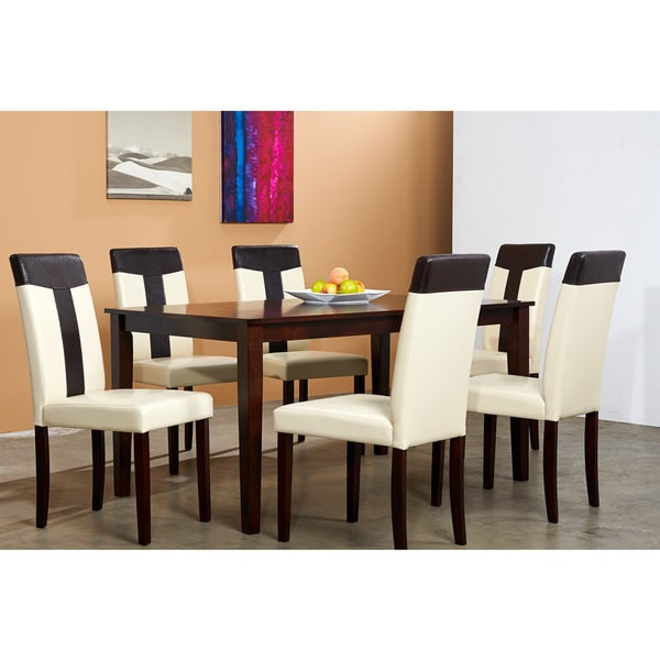 Cream/ Brown 7-piece Dining Set