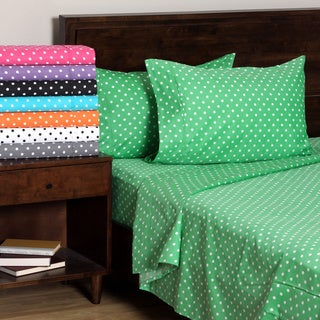 Superior 600 Thread Count Deep Pocket Polka Dot Cotton Blend Bed Sheet Set