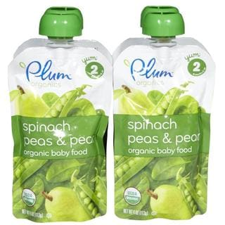 Plum Organics Second Blends 4-ounce Spinach Peas Pear (Pack of 4)