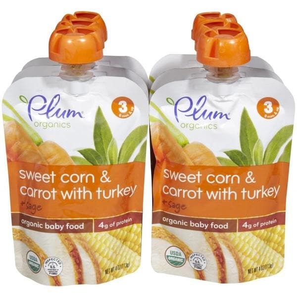 Plum Organics Stage 3 Sweet Corn & Carrot with Turkey + Sage 4-ounce (Pack of 6)
