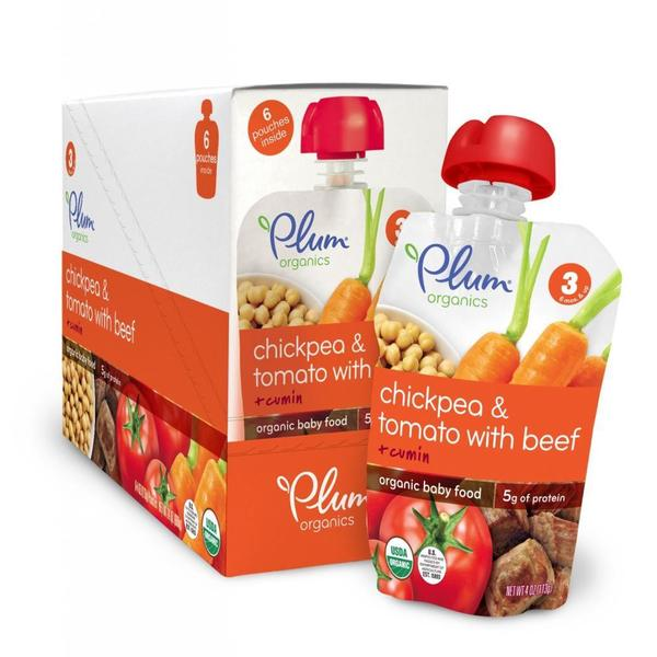 Plum Organics Stage 3 Chickpea & Tomato with Beef + Cumin 4-ounce (Pack of 6)
