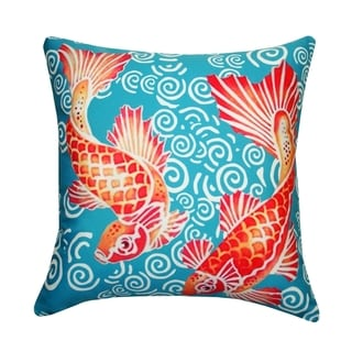 20 x 20-inch Colorful Koi Outdoor Throw Pillow (India)