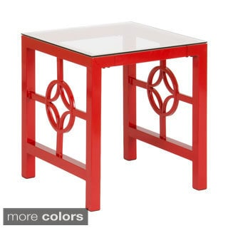 Medallion Metal Tempered Glass End Table