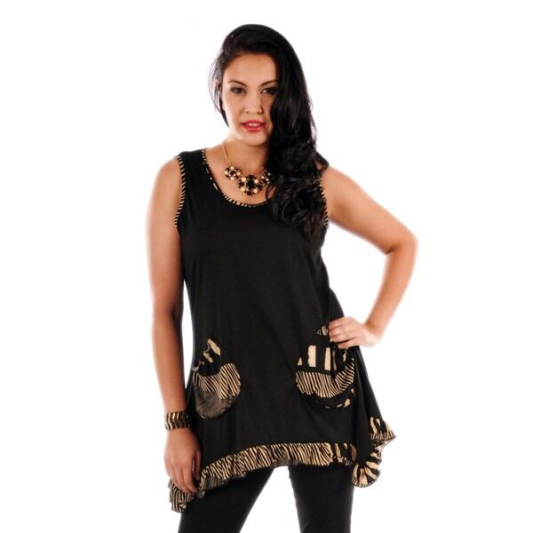 Women's Plus Black and Beige Ruffled Hem Tank Top