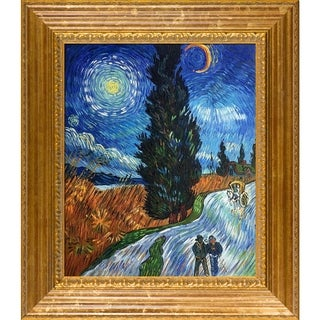 Vincent Van Gogh 'Road With Cypress and Star ' Hand Painted Framed Canvas Art