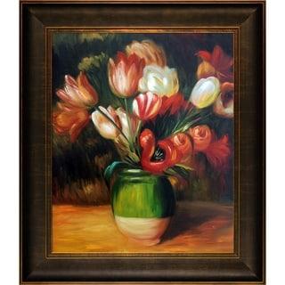 Pierre-Auguste Renoir 'Tulips in a Vase ' Hand Painted Framed Canvas Art