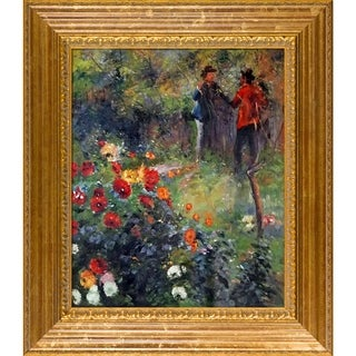 Pierre-Auguste Renoir 'Garden in the Rue Cortot Montmartre ' Hand Painted Framed Canvas Art