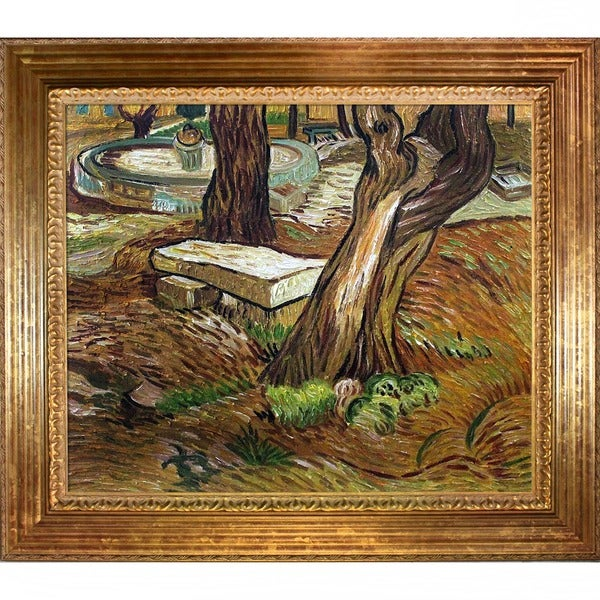 Vincent Van Gogh 'The Bench at Saint Remy ' Hand Painted Framed Canvas Art