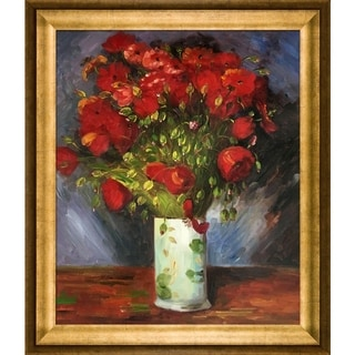 Vincent Van Gogh 'Vase with Red Poppies ' Hand Painted Framed Canvas Art