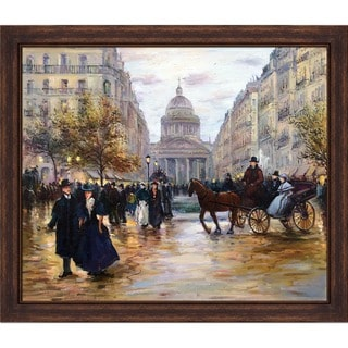 Jean-Fran�ois Raffaelli 'Boulevard Saint-Michel ' Hand Painted Framed Canvas Art