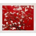 Vincent Van Gogh 'Branches of an Almond Tree in Blossom (Interpretation in Red)' Framed Canvas Art